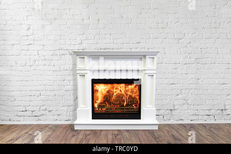 White Fireplace in bright empty living room interior of house. - Stock Photo