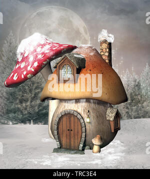 Mushroom house in a winter scenery - Stock Photo
