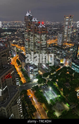 TOKYO, JAPAN, May 13, 2019 : View from Metropolitan building by night. The Greater Tokyo Area ranked as the most populous metropolitan area in the wor