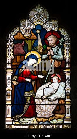 Nativity stained glass, St. Anne`s Church, Sutton Bonington, Nottinghamshire, England, UK - Stock Photo