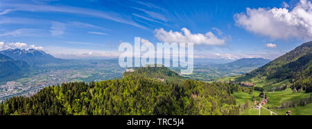 panoramas from Le Mole in the French Pre Alps looking down toward the Arve river valley and Geneva, Switzerland in the distan - Stock Photo