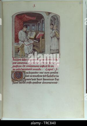 de impersonation Christi, codex 1576 folio 9 recto, full page: text with miniature: Thomas von Kempen in of his cubicle at a book writing, Additional-Rights-Clearance-Info-Not-Available - Stock Photo