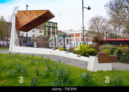 The Bethnal Green Memorial 'Stairway to Heaven' in Bethnal Green Gardens. Bethnal Green underground shelter disaster of 3 March 1943 - Stock Photo