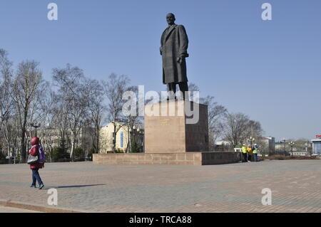 Lenin Square, Yuzhno-Sakhalinsk  Sakhalin Island Остров  Сахалин Russia - Stock Photo