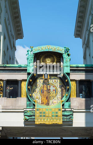 Anker Clock Vienna, view of the Anker Clock (Ankeruhr), a huge art nouveau clock sited in Hoher Markt in the Innere Stadt area of Vienna, Austria. - Stock Photo