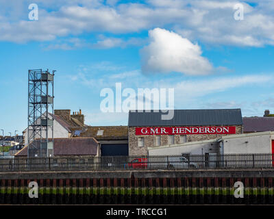 Buildings at Wick Harbour, Caithness, Scotland, Uk - Stock Photo
