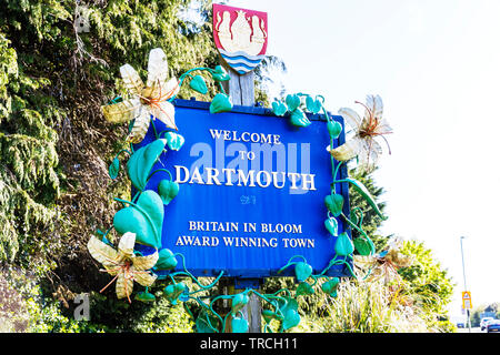 Welcome to Dartmouth sign, Dartmouth, Devon, UK, England, Dartmouth Devon, Dartmouth UK, Dartmouth sign, sign, signs, Welcome, Dartmouth Town Devon UK - Stock Photo