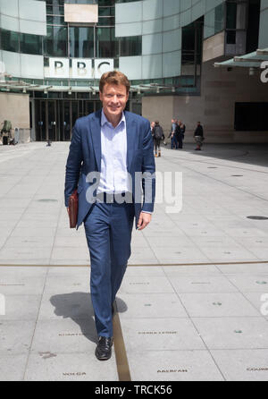Richard Tice, Chairman of the Brexit Party, leaves the BBC Studios after appearing on The Andrew Marr Show - Stock Photo