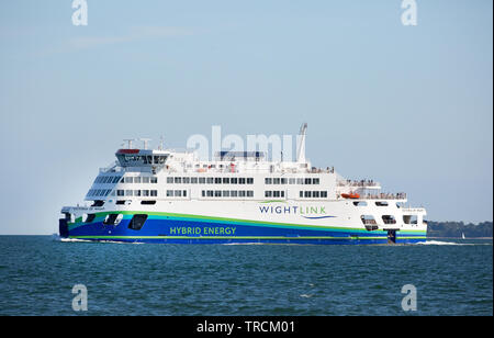 Victoria of Wight, the Wight Link ferry from Portsmouth-Fishbourne, that uses hybrid technology to make it more environmentally friendly - Stock Photo