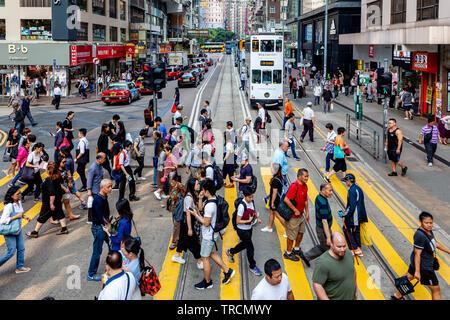 Pedestrian Crossing, Hong Kong, China - Stock Photo