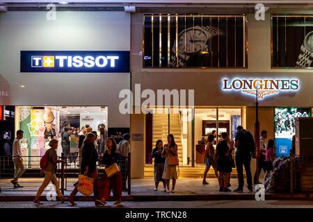 Expensive Watch Shops, Kowloon, Hong Kong, China - Stock Photo