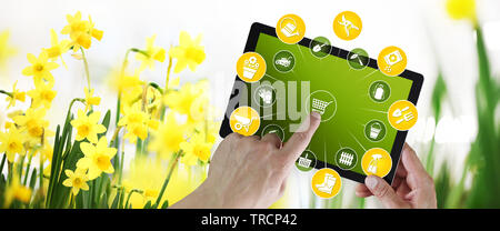 gardening equipment e-commerce concept, online shopping on digital tablet, hand pointing and touch screen with tools icons, on spring flower plants ba - Stock Photo