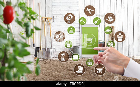 gardening equipment e-commerce concept, online shopping on smart phone, hand pointing and touch screen with tools icons - Stock Photo
