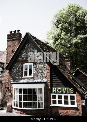 Old Bakery with Hovis Sign, Hambleden Village, Wycombe district, Berkshire, England, UK, GB. - Stock Photo