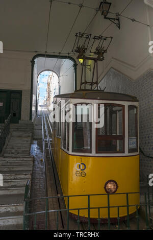 Ascensor Da Bica, Lisbon's oldest funicular, Misericórdia, Lisbon, Portugal: in the lower station on Rua de São Paulo - Stock Photo