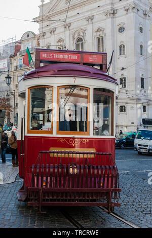 Traditional tourist tram, Largo Chiado, Encarnação, Lisbon, Portugal - Stock Photo