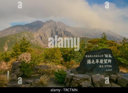 Sakurajima Volcano in Kyushu, Japan - Stock Photo