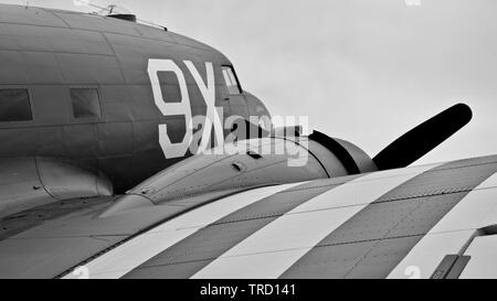 C-47 N150D (101st Airbourne tribute) at the 2019 Shuttleworth Flying Festival to commemorate the 75th anniversary of D-Day - Stock Photo