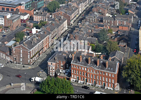 Aerial birds eye street scene view of row 1700s Georgian terraced houses looking down on slate rooftops in Rodney Street City of Liverpool England UK - Stock Photo