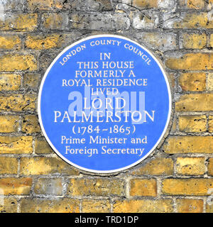 London County Council famous people blue brick wall plaque lived at this house historical fame of  Prime Minister Lord Palmerston London England UK - Stock Photo