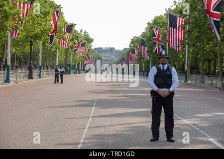 London, UK. 3rd June 2019. Donald Trump, the President of the USA visiting the UK with police officers on standby on the Mall. Credit: Alamy News / Joe Kuis - Stock Photo