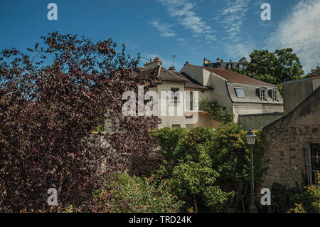 Treetops and roofs building under sunny blue sky at Montmartre in Paris. One of the most impressive world's cultural center in France. - Stock Photo