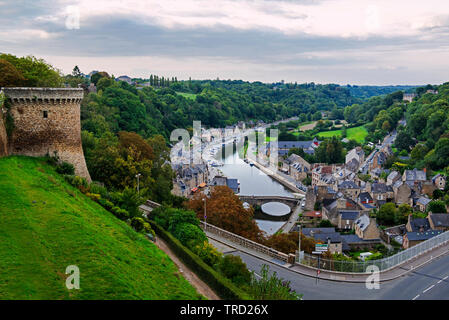 Dinan on the banks of the Rance River, Dinan, Brittany, France - Stock Photo
