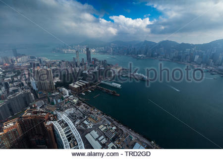 Aerial View of ICC (International Commerce Centre) building. The tallest building in Hong Kong - Stock Photo