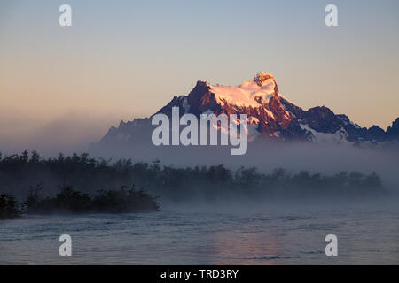Los Cuernos at sunrise in Torres del Paine NAtional Park, Patagonia, Chile - Stock Photo