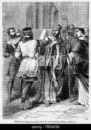William the Conqueror arrests with his own hand Odo, Bishop of Bayeux, Illustration from John Cassell's Illustrated History of England, Vol. I from the earliest period to the reign of Edward the Fourth, Cassell, Petter and Galpin, 1857 - Stock Photo
