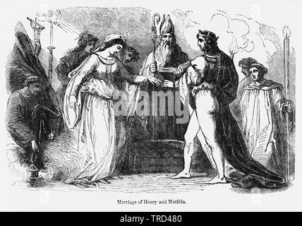 Marriage of Henry and Matilda, Illustration from John Cassell's Illustrated History of England, Vol. I from the earliest period to the reign of Edward the Fourth, Cassell, Petter and Galpin, 1857 - Stock Photo