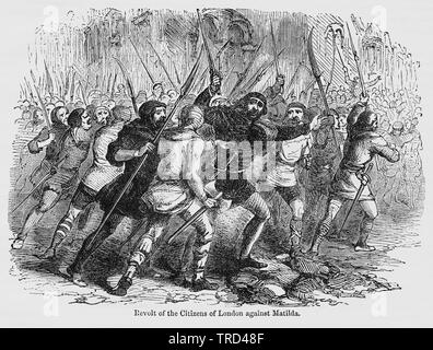Revolt of the Citizens of London against Matilda, Illustration from John Cassell's Illustrated History of England, Vol. I from the earliest period to the reign of Edward the Fourth, Cassell, Petter and Galpin, 1857 - Stock Photo
