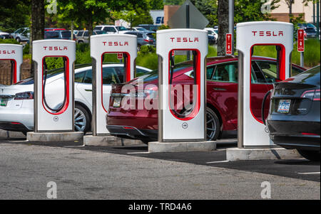 Tesla cars at Tesla Supercharger stations near Atlanta, Georgia. - Stock Photo