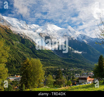 Mont Blanc over Chamonix town, Chamonix, French Alps, Savoy, France, Europe - Stock Photo