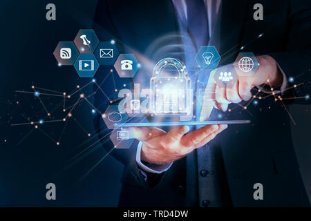 Business man protecting data personal information on tablet, Data protection privacy concept, SSL Certificate, Cyber security network,Padlock icon and - Stock Photo