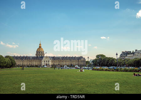 Gardens, palace and dome forming the Esplanade des Invalides in Paris. One of the most impressive world's cultural center in France. - Stock Photo