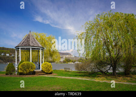 Gazebo at Garrison NY on Hudson River with West Point Military Academy distant - Stock Photo