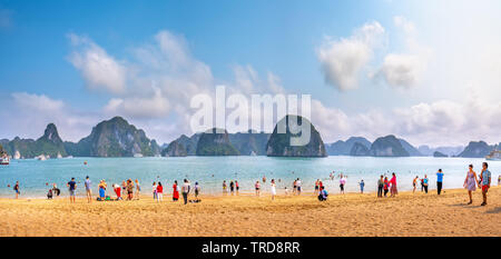 Tourists swimming, exploring around beach in Ti Top Island.It is one of most attractive site for both international and domestic tourists - Stock Photo