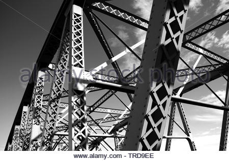 Upwards view of the historical Burrard Street bridge, near downtown Vancouver BC, Canada. - Stock Photo