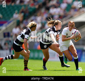 Kelly Smith in action during the England v Barbarians Women at Twickenham London England on June 02 2019 Graham / GlennSports - Stock Photo