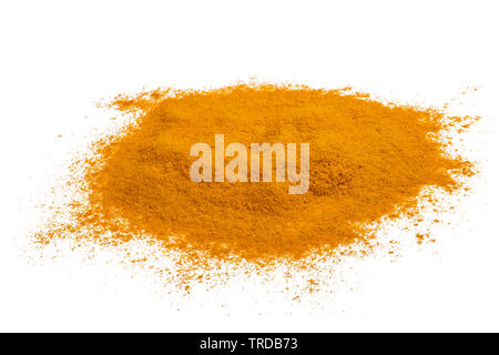 Curcuma powder with roots isolated on white - Stock Photo