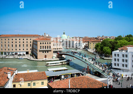 10 - May - 2019, Venice, Italy - PIazzale Roma, The Ponte di Calatrava or Ponte Della Costituzione in Piazzale Roma. This fourth bridge over the Grand - Stock Photo