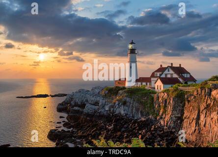 Portland Lighthouse at sunrise, Maine, USA.