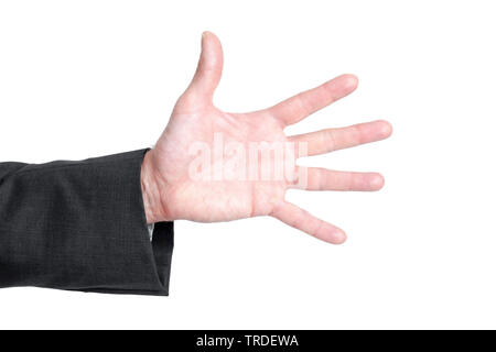 Close-up view of a hand in a black suit with stretched out fingers against white background - Stock Photo