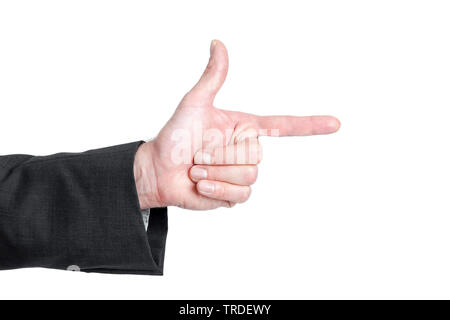 Close-up view of a hand in a black suit with one finger pointing to the right against white background - Stock Photo