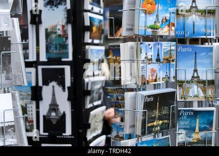 postcard rack, France, Paris - Stock Photo