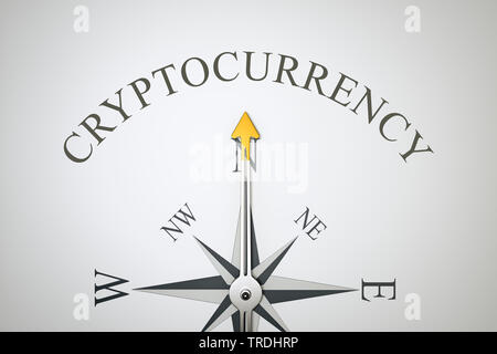 3D computer graphic, compass in white color lettering CRYPTOCURRENCY