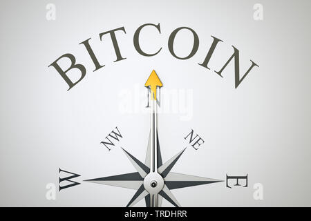 3D computer graphic, compass in white color lettering BITCOIN