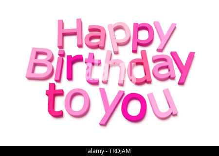 3D computer graphic, lettering HAPPY BIRTHDAY TO YOU out of 3D letters in shades of pink - Stock Photo
