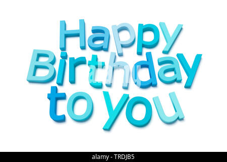 3D computer graphic, lettering HAPPY BIRTHDAY TO YOU out of 3D letters in shades of blue - Stock Photo